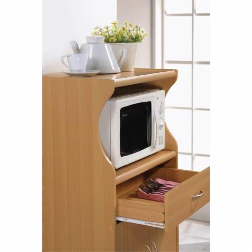 Microwave Kitchen Cart in Beech Brown - Hodedah Perspective: left