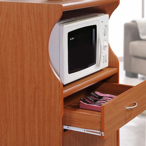Microwave Kitchen Cart in Cherry - Hodedah Perspective: left