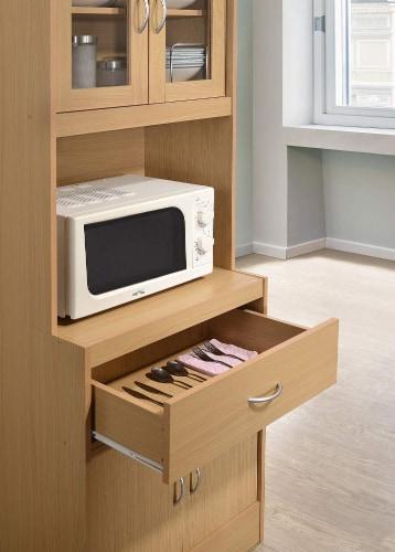 Hodedah Freestanding Kitchen Storage Cabinet w/ Open Space for Microwave, Beech Perspective: left