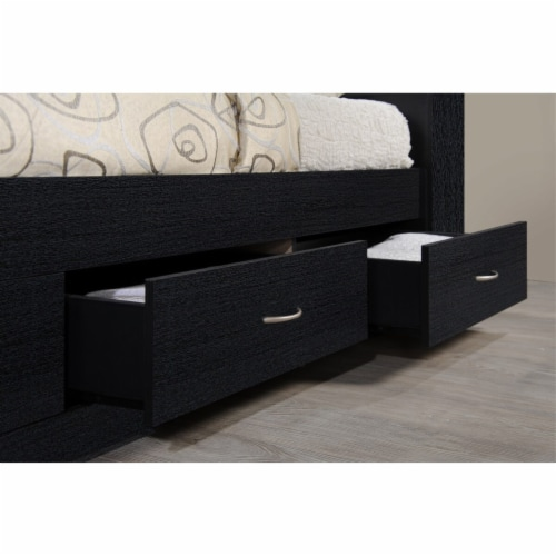 Twin Size Captain Bed with 3 Drawers and Headboard in Black - Hodedah Perspective: left
