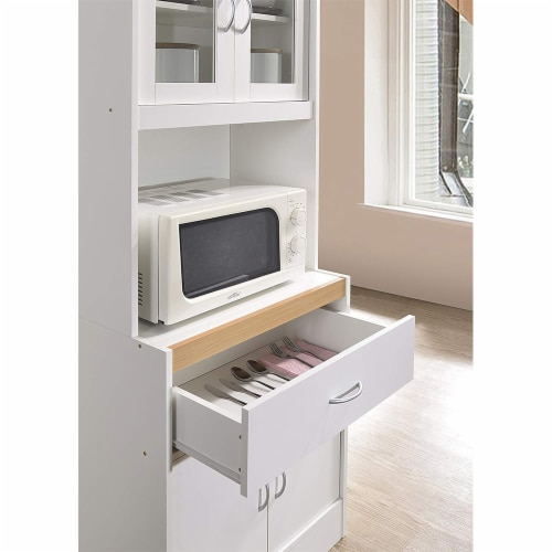 Hodedah Freestanding Kitchen Storage Cabinet w/ Open Space for Microwave, White Perspective: left