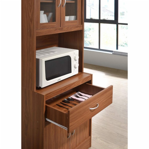 """Hodedah Import 70"""" Tall Top/Bottom Enclosed Kitchen Cabinet with Drawer, Cherry Perspective: left"""
