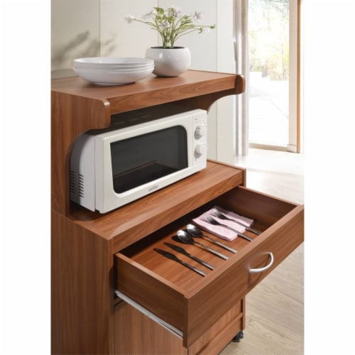 Hodedah Microwave Kitchen Cart in Cherry Perspective: left