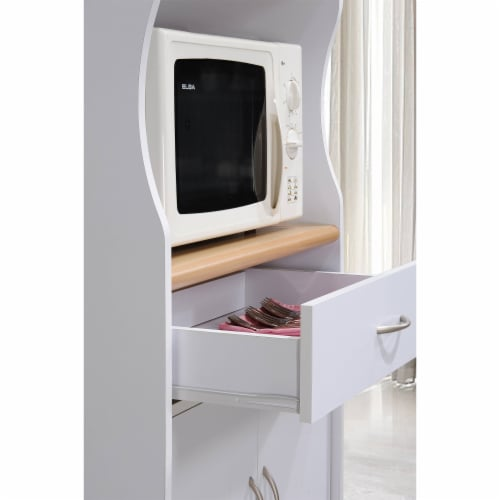 Microwave Kitchen Cart in White - Hodedah Perspective: left