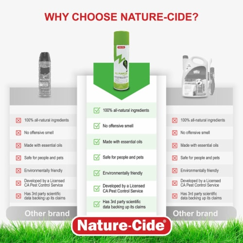 Nature-Cide All-Purpose Aerosol Can Insecticide - Natural Roach, Spider, Mosquito, Ant Spray Perspective: left