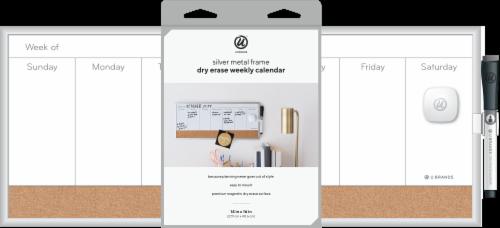 U Brands Dry Erase Weekly Calendar - White/Silver Perspective: left