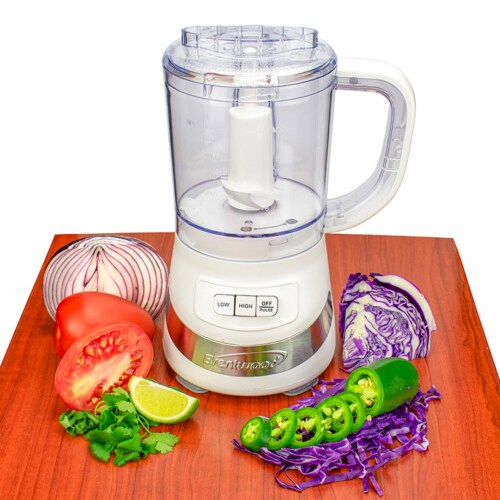 Brentwood FP-549W 3 Cup Kitchen Countertop Food Blender Chopper Processor, White Perspective: left