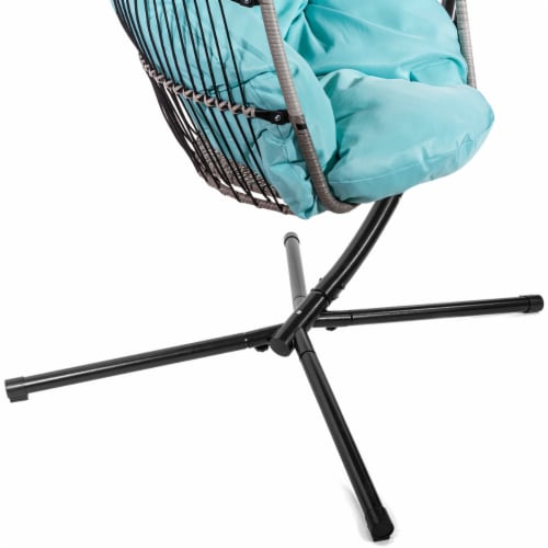 Patio Hanging Egg Chair Swing X-Large Cushion Include Stand, Blue Perspective: left