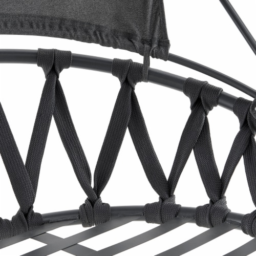 Patio Hanging Swing Lounge Chair Stand Deep Seat Cushion w/ Canopy Grey Perspective: left