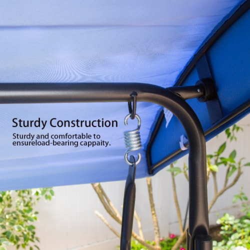 Outdoor 3-Person Patio Porch Swing Chair with Adjustable Canopy, Blue Perspective: left