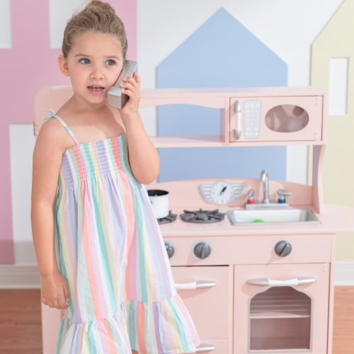 Pink Wooden Toy Kitchen with Fridge Freezer and Oven by Teamson Kids TD-11414P Perspective: left