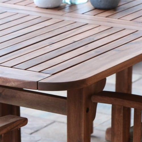 6 Piece Wood Patio Dining Set in Brown with Cushions Perspective: left