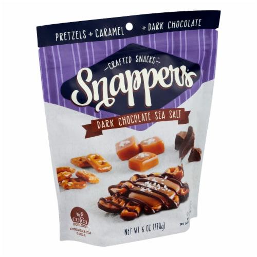 Snappers Dark Chocolate Sea Salt Caramel Pretzels Perspective: left