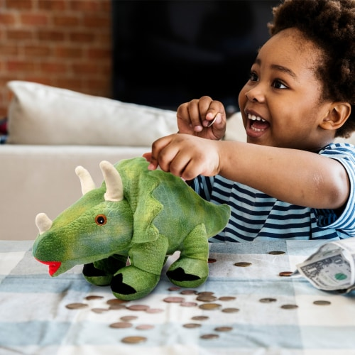 Linzy Toys Triceratops Coin Bank - Green Perspective: left