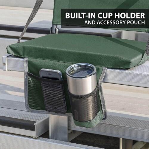 Eastpoint Sports Adjustable Bleacher Backrest Stadium Seat w/ Cup Holder, Green Perspective: left