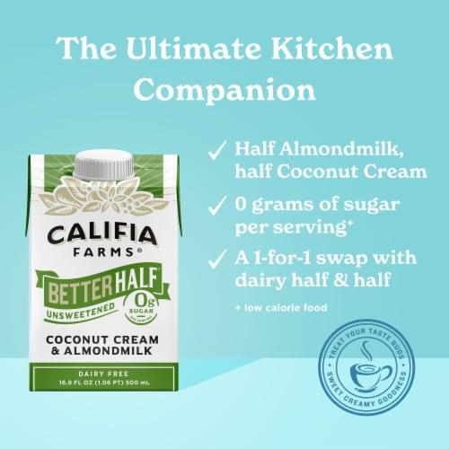 Califia Farms Dairy Free Better Half Unsweetened Coconut Cream & Almond Milk Creamer Perspective: left