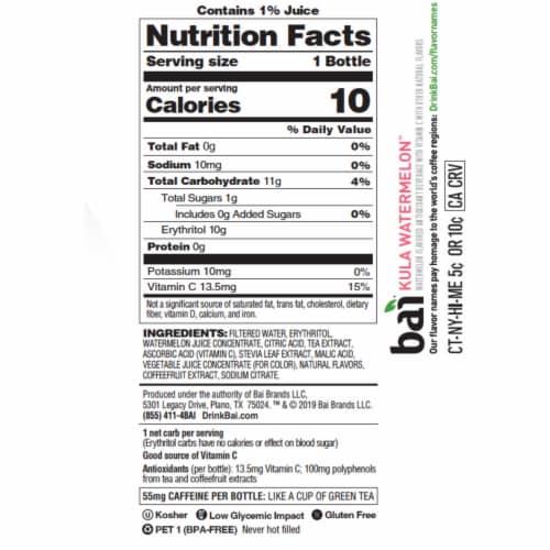Bai Kula Watermelon Antioxidant Infused Beverage Perspective: left
