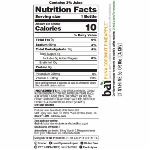 Bai Cocofusion Puna Coconut Pineapple Antioxidant Infused Beverage Perspective: left