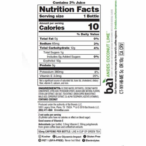 Bai Cocofusion Andes Coconut Lime Antioxidant Beverage Perspective: left