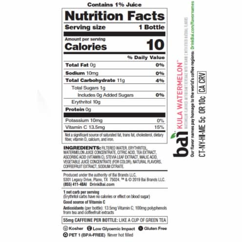 Bai Kula Watermelon Antioxidant Infused Beverages 6 Count Perspective: left