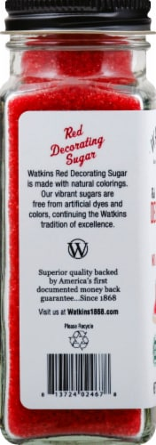Watkins Gourment Red Decorating Sugar Perspective: left