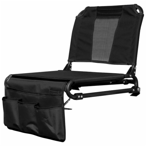 Creative Outdoor 2 in 1 Bleacher Folding Chair - Black Perspective: left