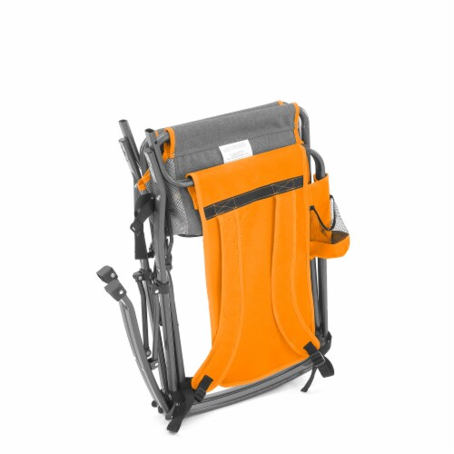 Creative Outdoor Rocking Folding Chair - Gray & Orange Perspective: left