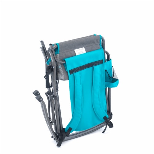 Creative Outdoor Rocking Folding Director Chair - Gray/Teal Perspective: left