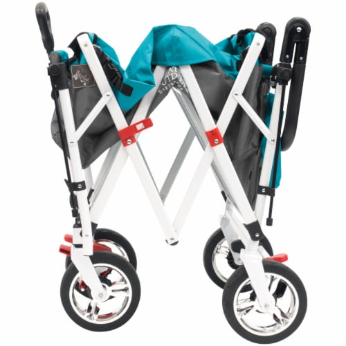 Creative Outdoor Silver Series Push Pull Folding Wagon Stroller with Canopy - Teal Perspective: left