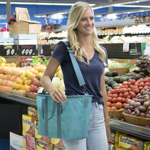 CleverMade 20L EcoBasket Grocery Tote Bags w/ Shoulder Strap, Charcoal (3 Pack) Perspective: left