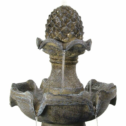 """Sunnydaze 2 Tier Pineapple Solar Outdoor Water Fountain with Battery 33"""" Feature Perspective: left"""