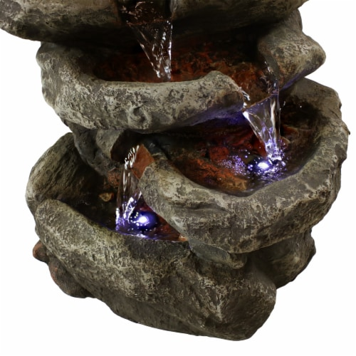 """Sunnydaze 6 Tier Stone Falls Tabletop Indoor Water Fountain Feature w/ LED - 15"""" Perspective: left"""