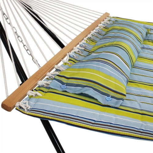 Sunnydaze Blue and Green Quilted Fabric Hammock with Multi-Use Universal Stand Perspective: left