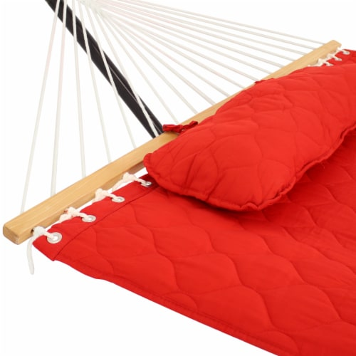 Sunnydaze 2-Person Quilted Fabric Spreader Bar Hammock with 12' Stand - Red Perspective: left