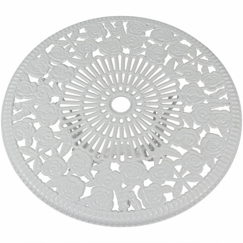 Sunnydaze 3-Piece White Flower Designed Cast Aluminum Patio Furniture Bistro Set Perspective: left