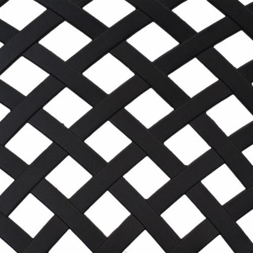 Sunnydaze 2-Person Black Checkered Cast Aluminum Outdoor Patio Garden Bench Perspective: left