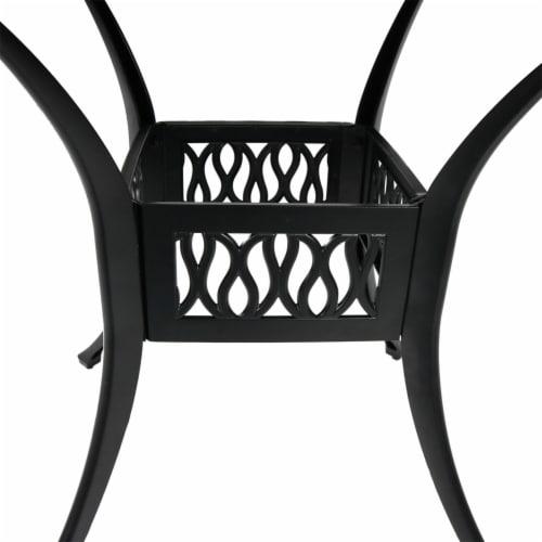 "Sunnydaze Black Heavy-Duty Cast Aluminum Outdoor Square Patio Dining Table - 35"" Perspective: left"
