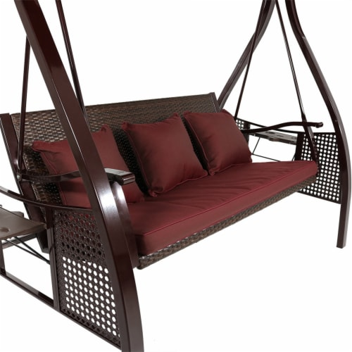 Sunnydaze Deluxe Steel Frame Maroon Cushioned Swing with Canopy and Side Tables Perspective: left