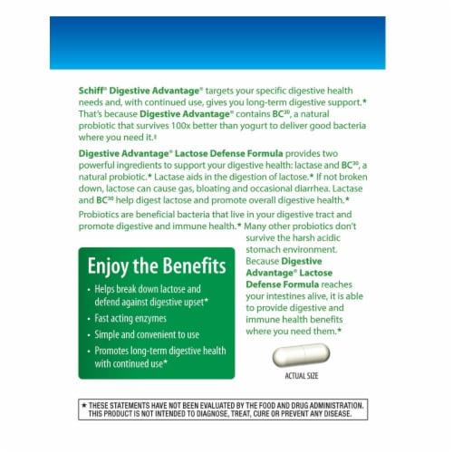 Digestive Advantage Lactose Defense Formula Probiotic Digestive & Immune Health Capsules Perspective: left