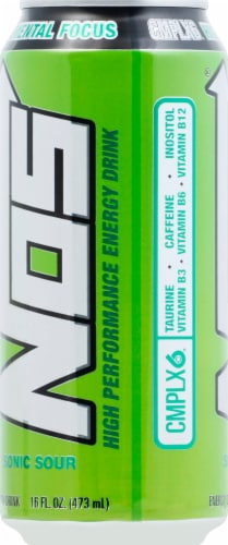 NOS Sonic Sour High Performance Fuel Energy Drink Perspective: left