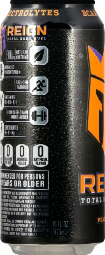 Reign Peach Fizz Energy Drink Perspective: left
