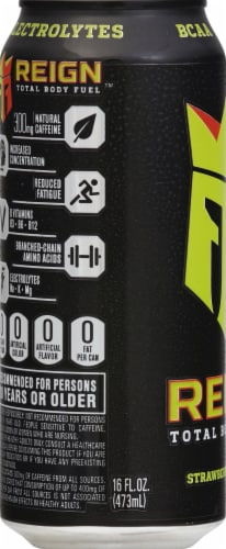 Reign Strawberry Sublime Energy Drink Perspective: left