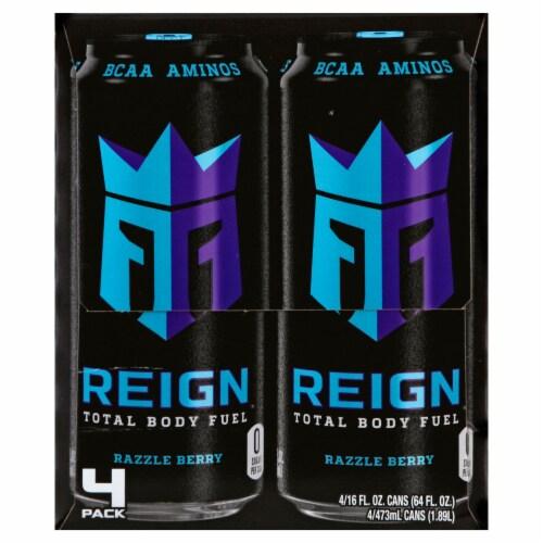 Reign Razzle Berry Energy Drinks Perspective: left