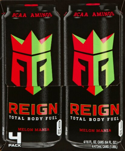 Reign Melon Mania Energy Drinks Perspective: left