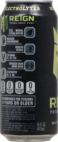 Reign Total Body Fuel White Gummy Bear Energy Drink Perspective: left