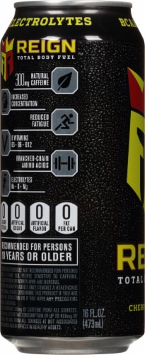 Reign Total Body Fuel Cherry Limeade Energy Drink Perspective: left