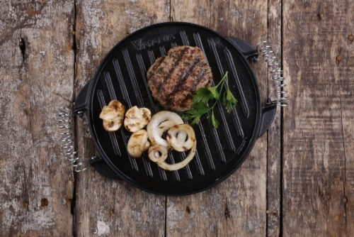 Victoria Wire Handles Cast Iron Round Reversible Griddle Perspective: left