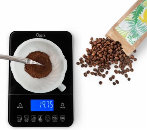 Ozeri Touch III 22 lbs (10 kg) Digital Kitchen Scale with Calorie Counter, in Tempered Glass Perspective: left
