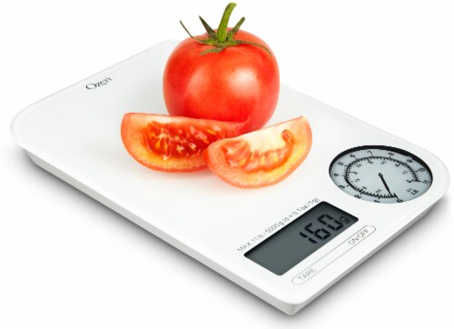 Ozeri Rev Digital Kitchen Scale with Electro-Mechanical Weight Dial Perspective: left