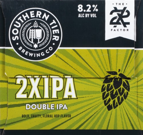 Southern Tier Brewing Company 2X Double IPA Beer 6 Cans Perspective: left